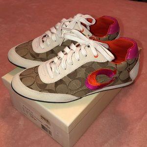 COACH Khaki, Pink & Orange Sneakers